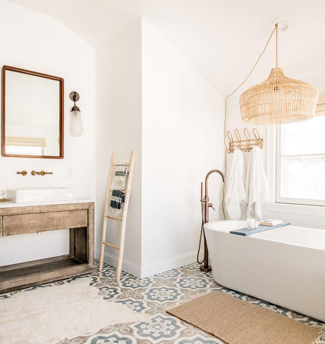 Bathroom with patterned tile floor