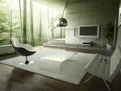 Living room with acrylic or lucite coffee table