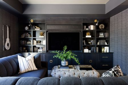 Blue Black And Gray Living Room