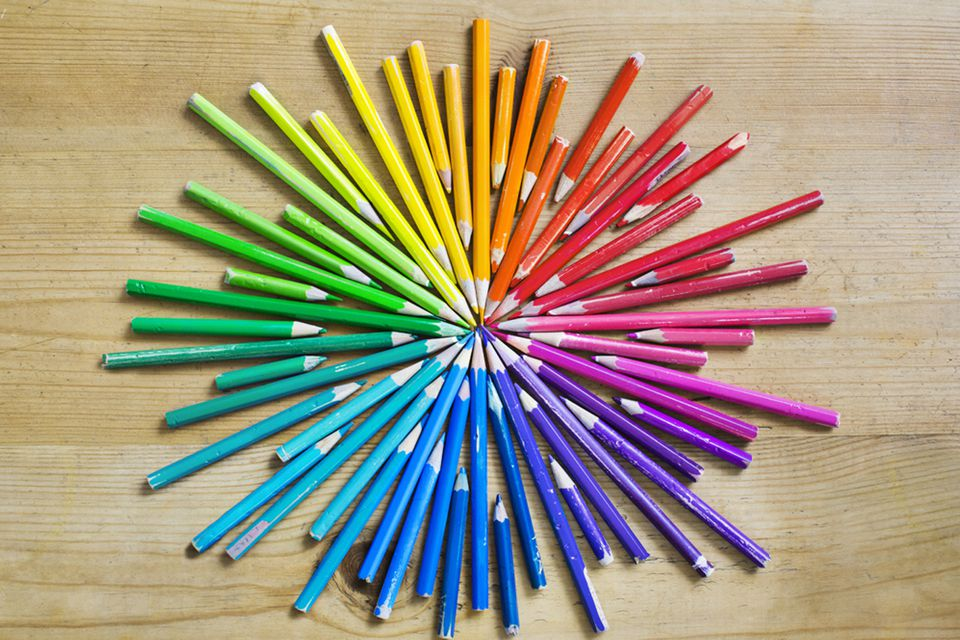Color wheel represented with colored pencils