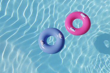 inflatable rings in pool