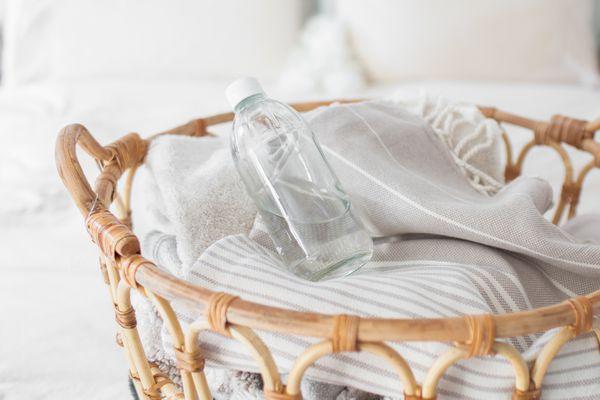 vinegar in a laundry basket