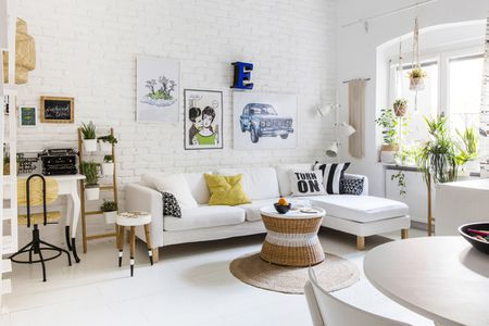 White Room With Furniture And House Plants