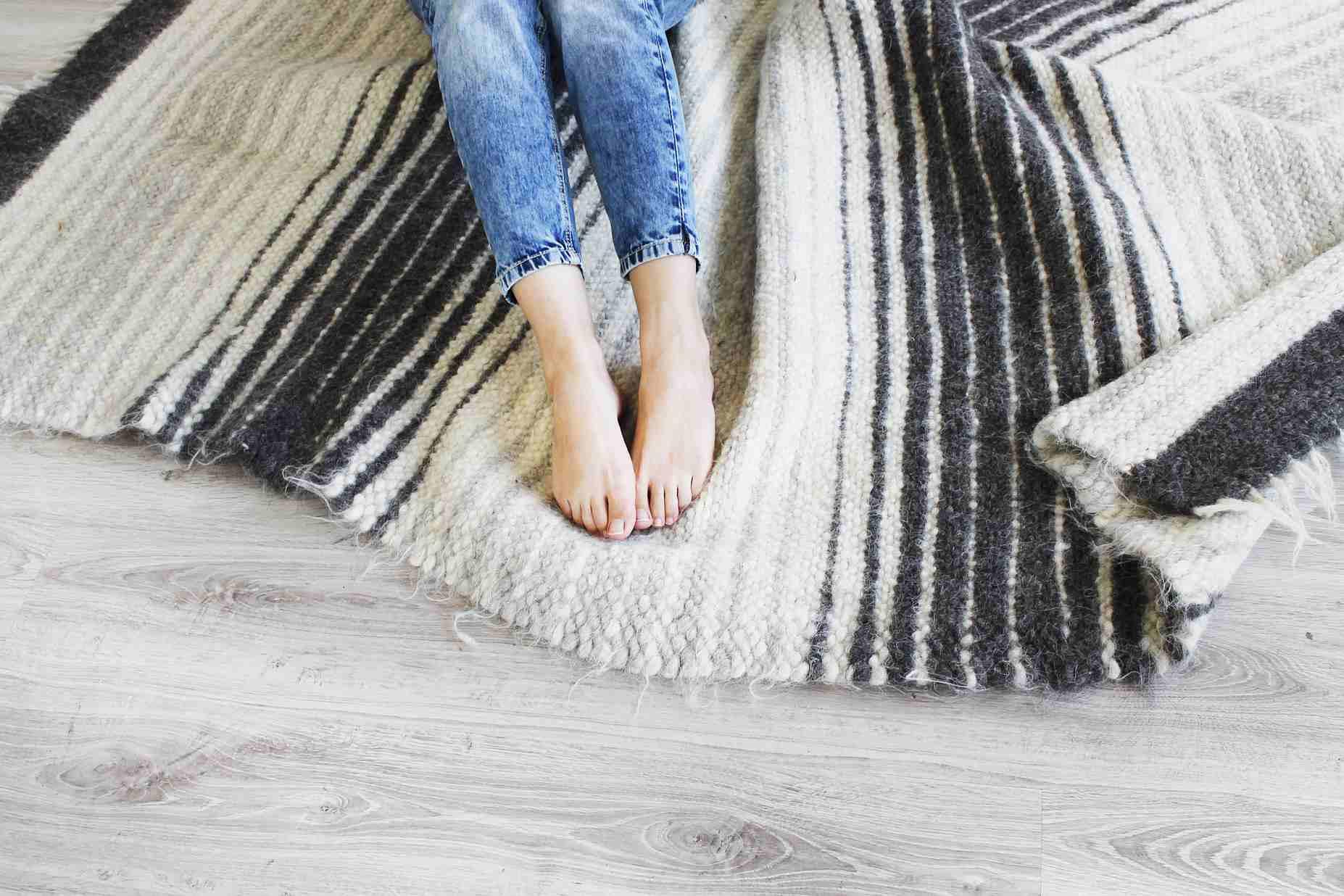 Scandinavian white area rug