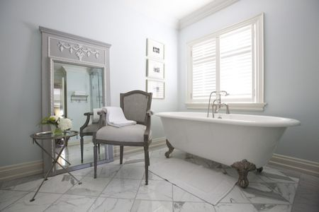 Gray And White French Style Master Bathroom