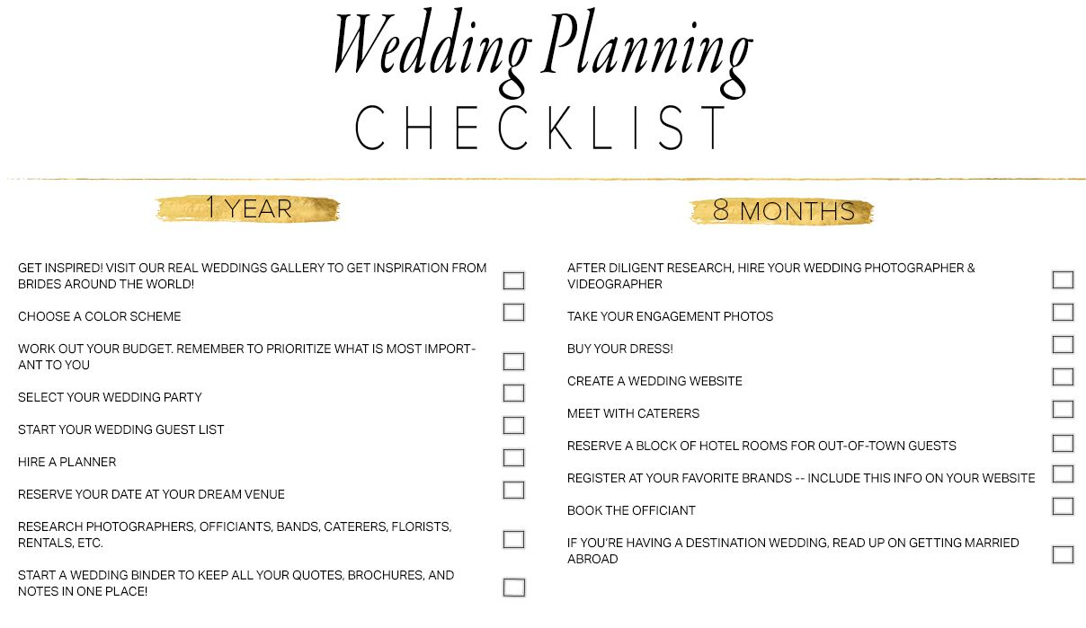 A Wedding Planning Checklist In Black And Gold