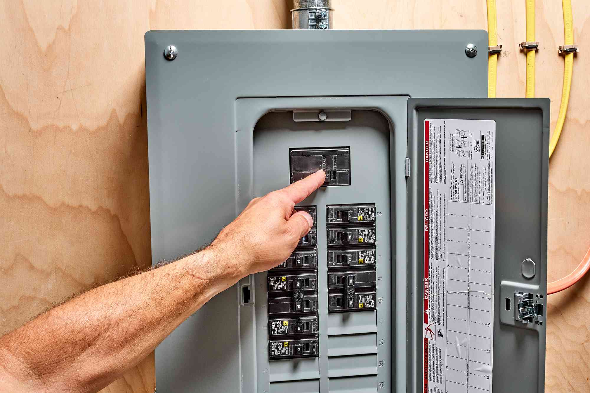 Circuit breaker switch turned on in electric panel after completed installation