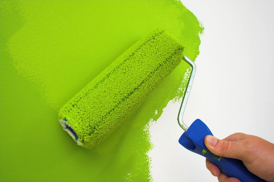 Painting wall with green