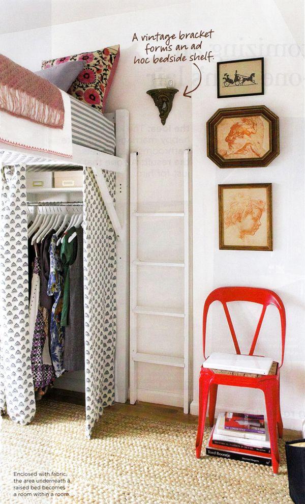 DIY closet space under loft bed