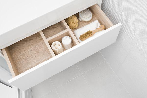 Open drawer as a bathroom storage idea