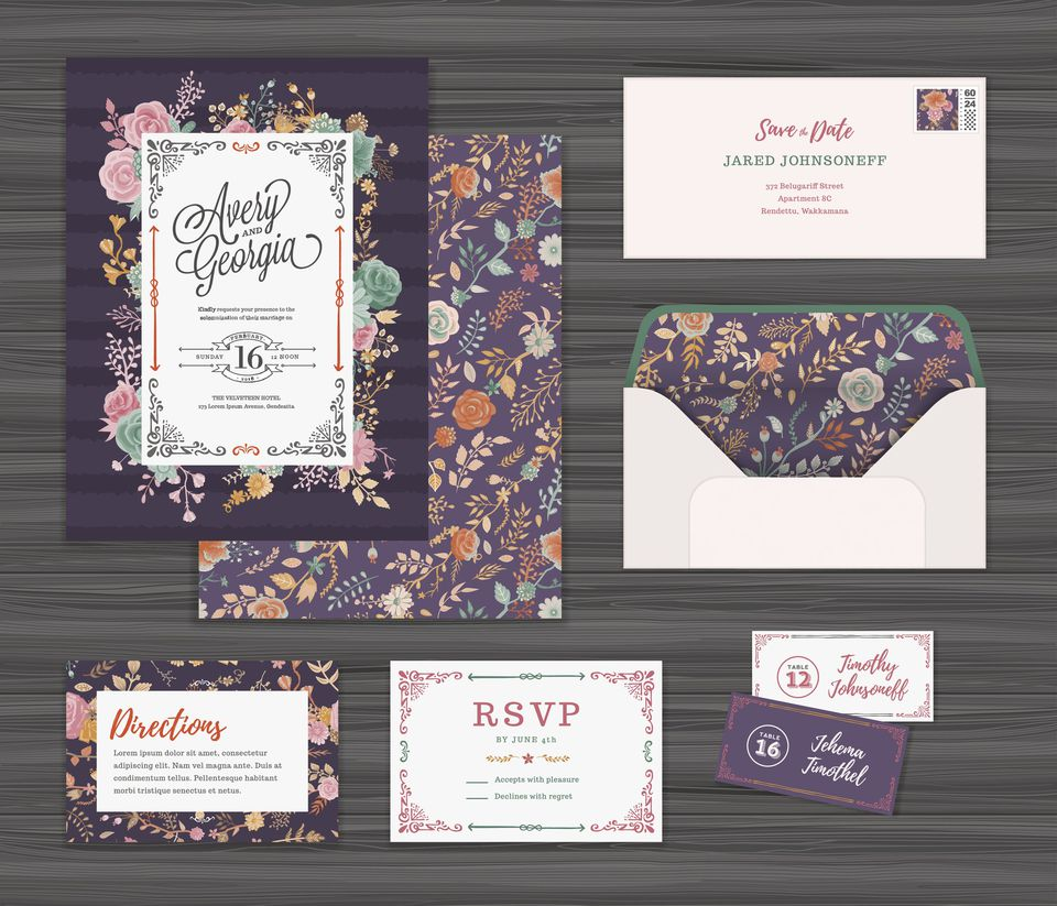 A floral wedding invitation template set