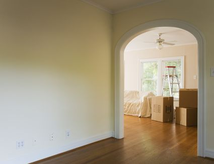 Interior of house with moving boxes