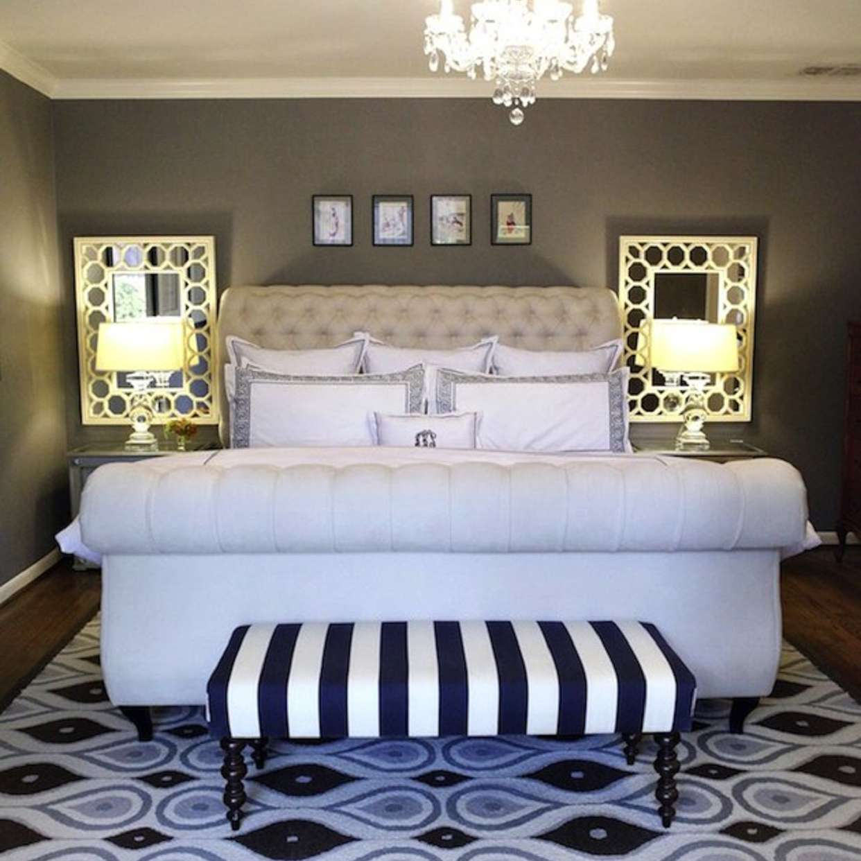 Small Hollywood regency bedroom