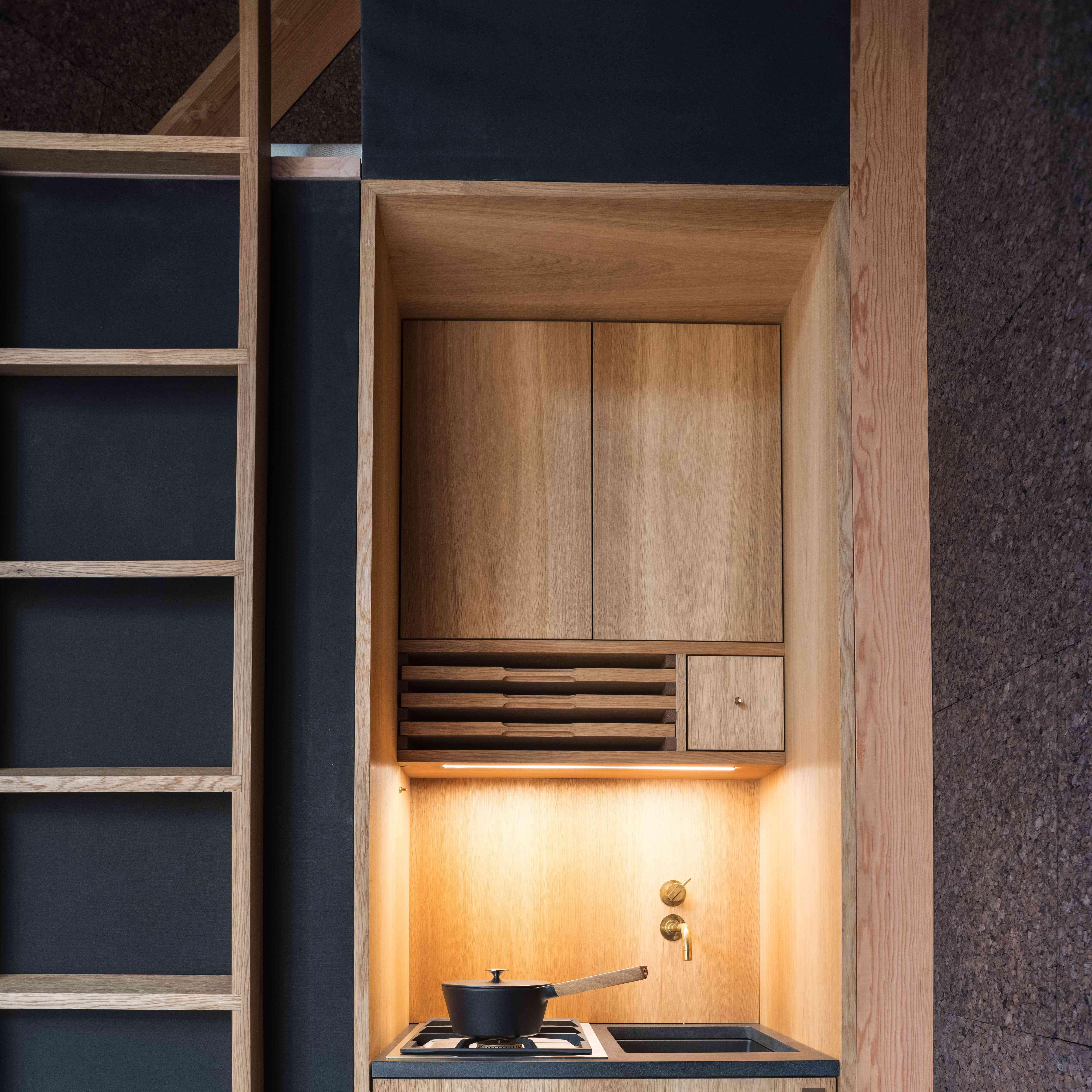 midcentury modern minimalist tiny home kitchen