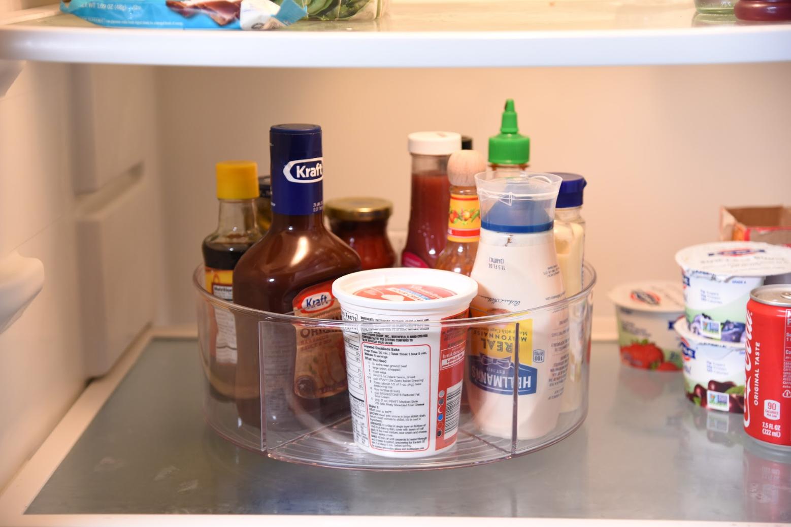 refrigerator condiments in a lazy susan