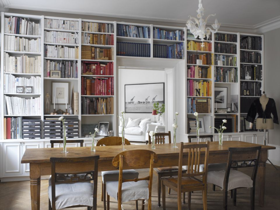Bookshelves in a dining room