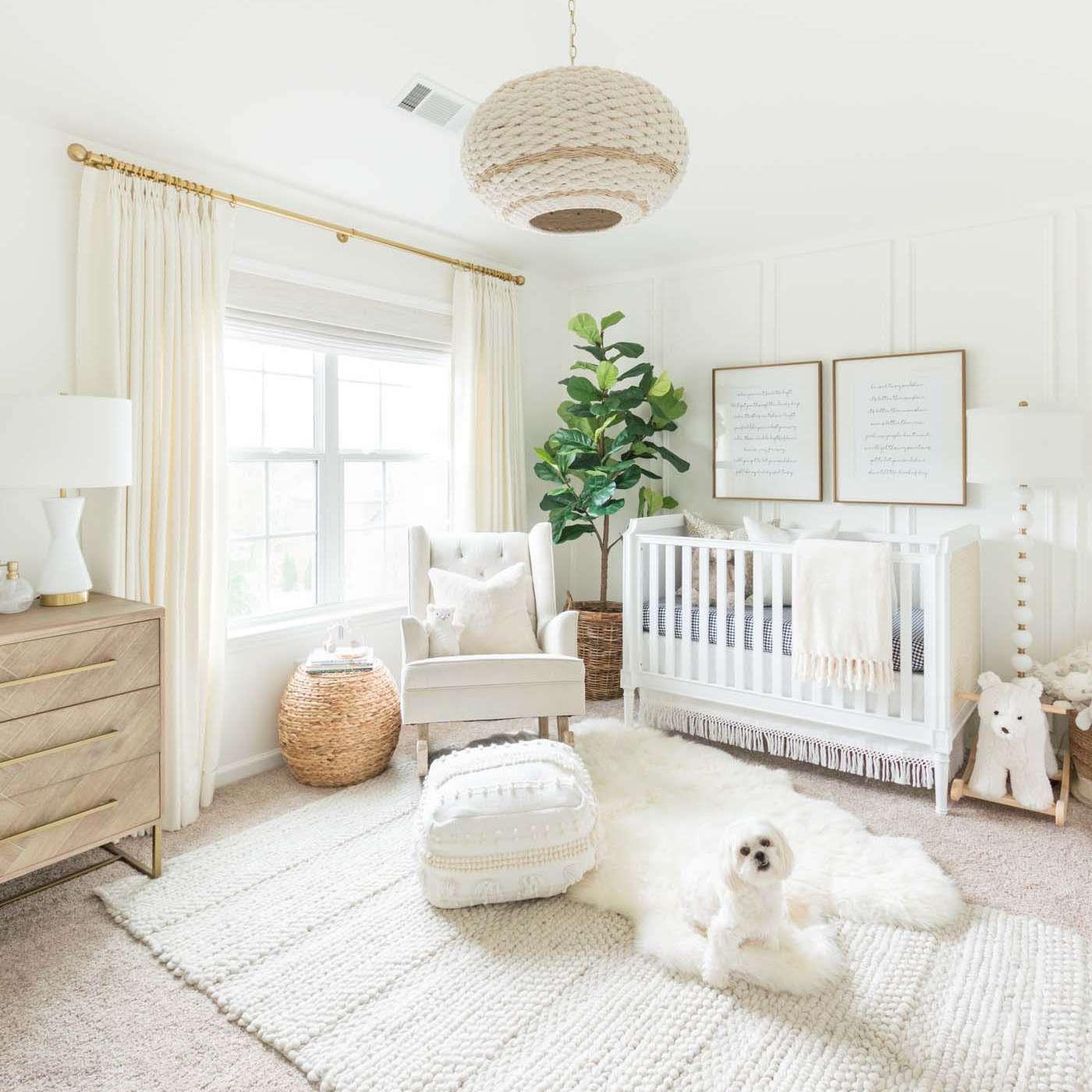 Neutral white on white nursery with cozy textures