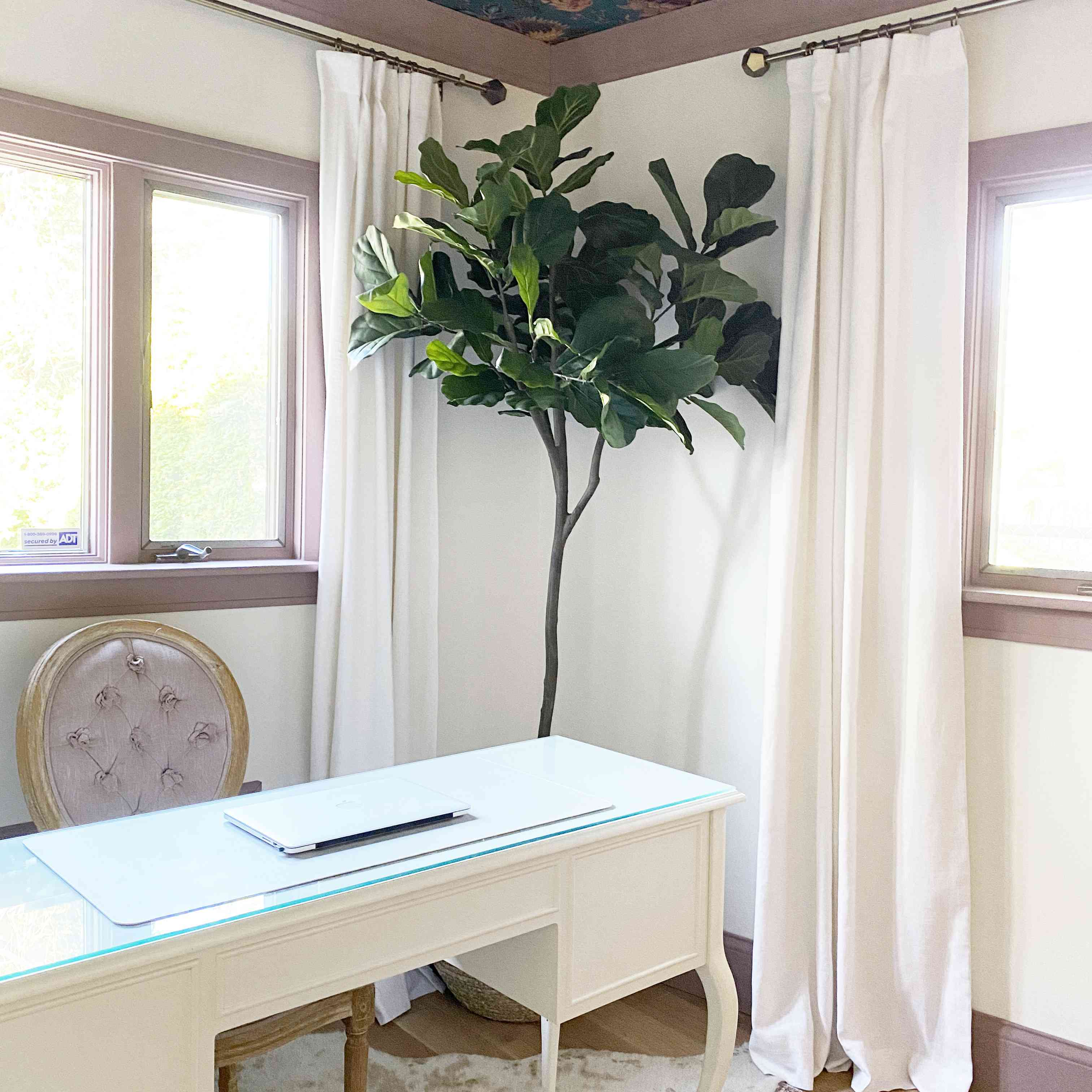 Danielle Chiprut's wallpapered ceiling in her home office
