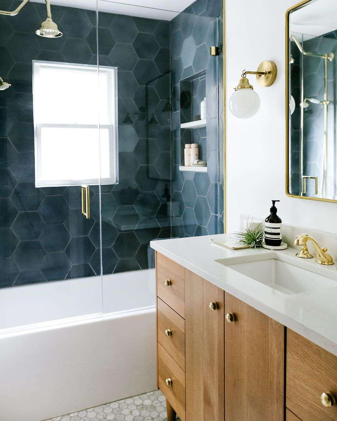 Bathroom with deep blue tiles