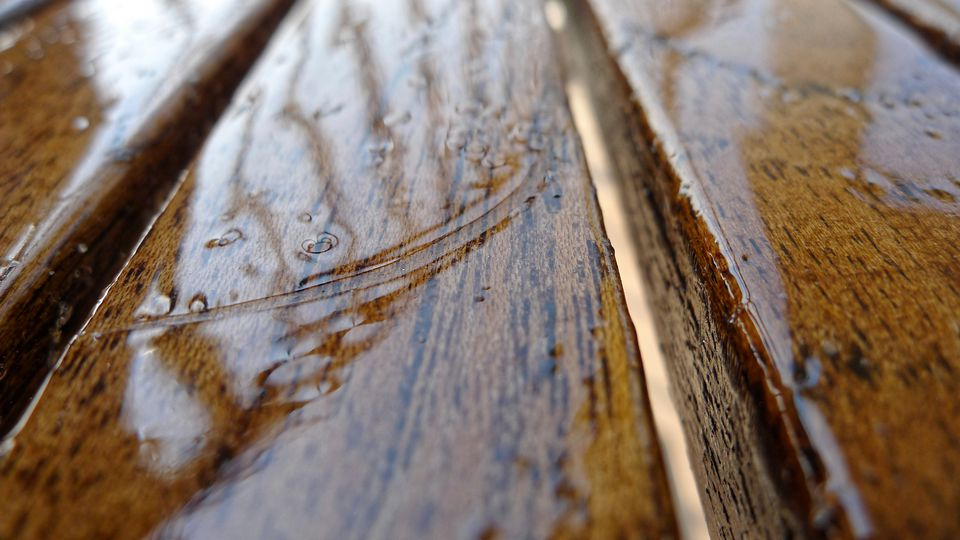 Close-Up View of wet hardwood floors