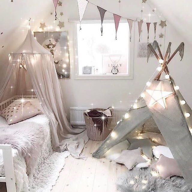 Simple, Nordic girl's room in pink and white