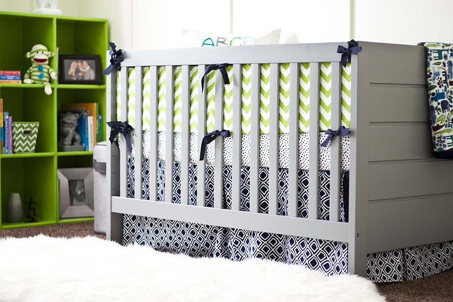 Bright and colorful boy's nursery in lime green and navy blue