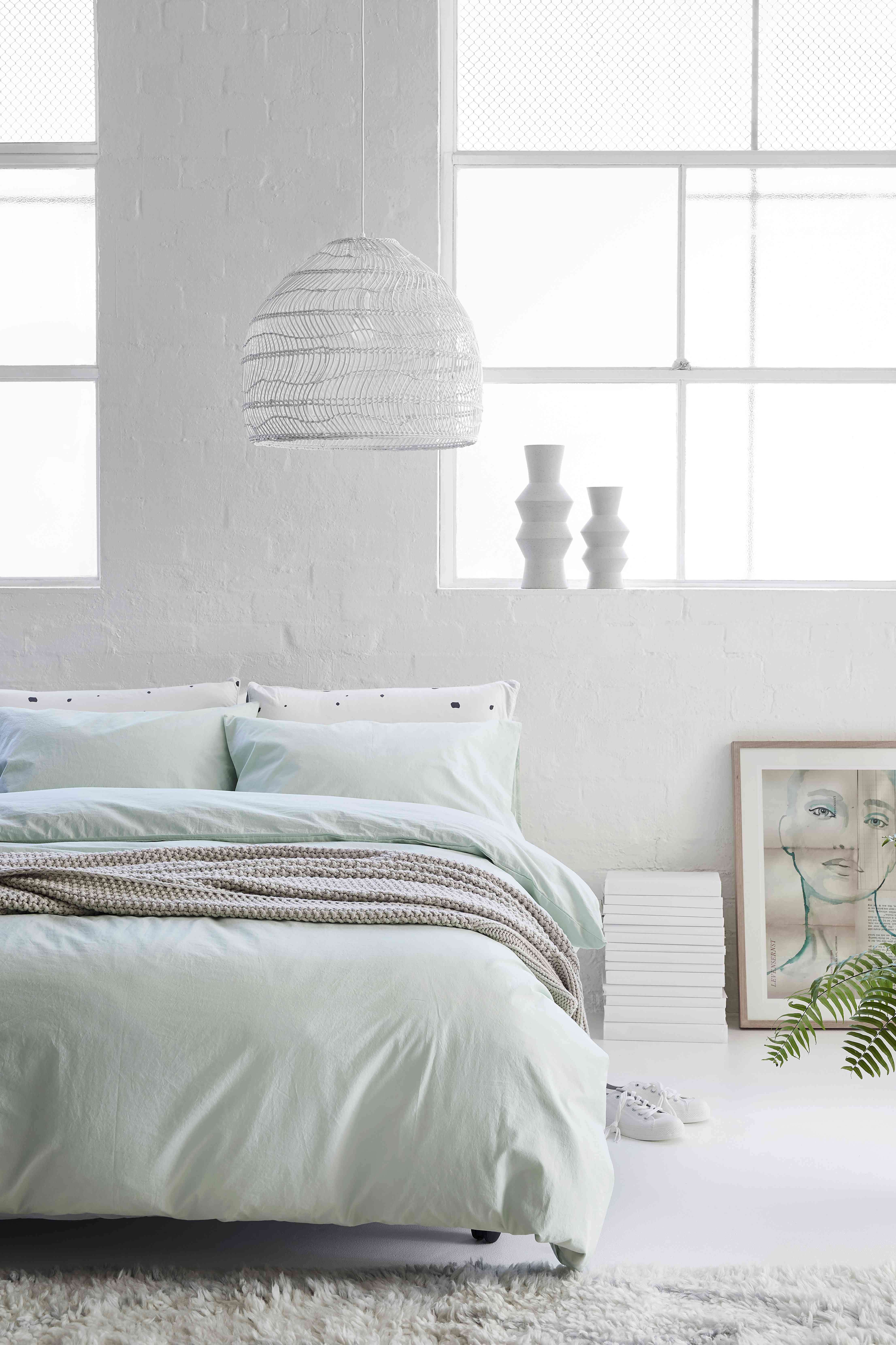 decorating with sage in bedding