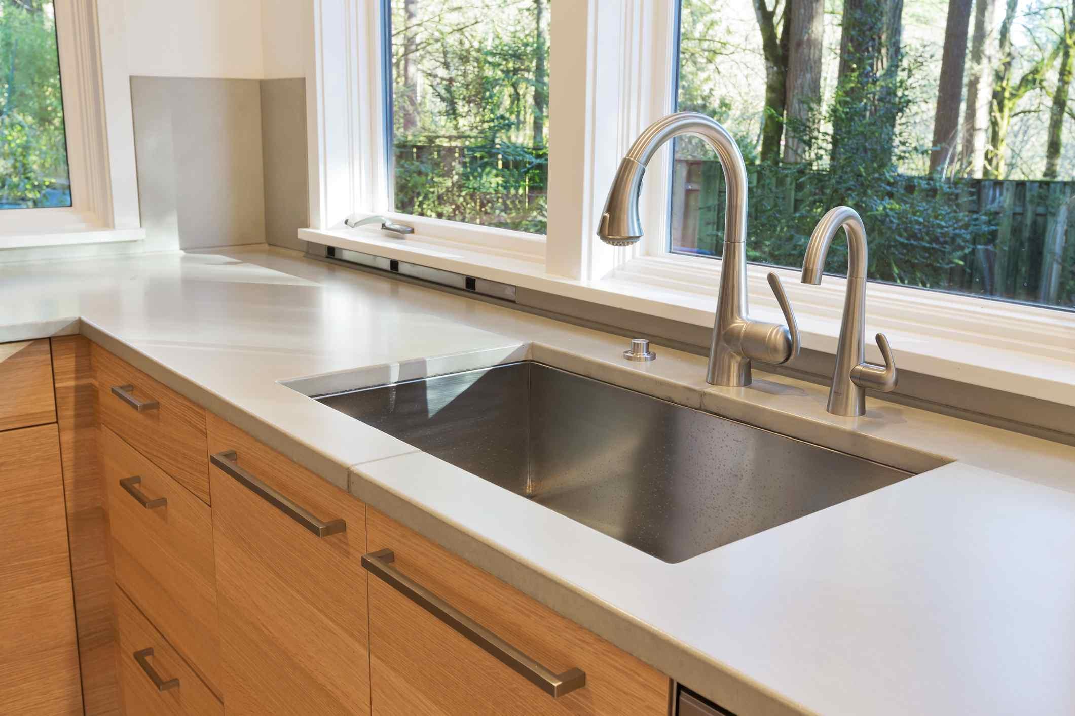 Undermount kitchen sink in a modern kitchen