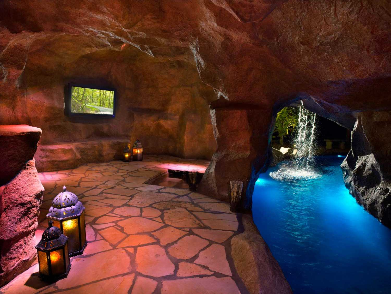 Pool with grotto and waterfall