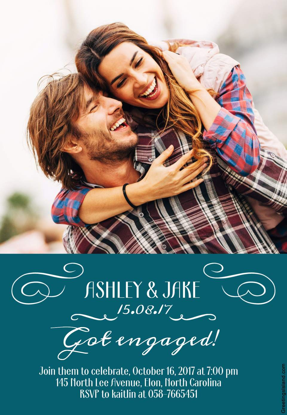 A happy couple in a photo engagement party invitation