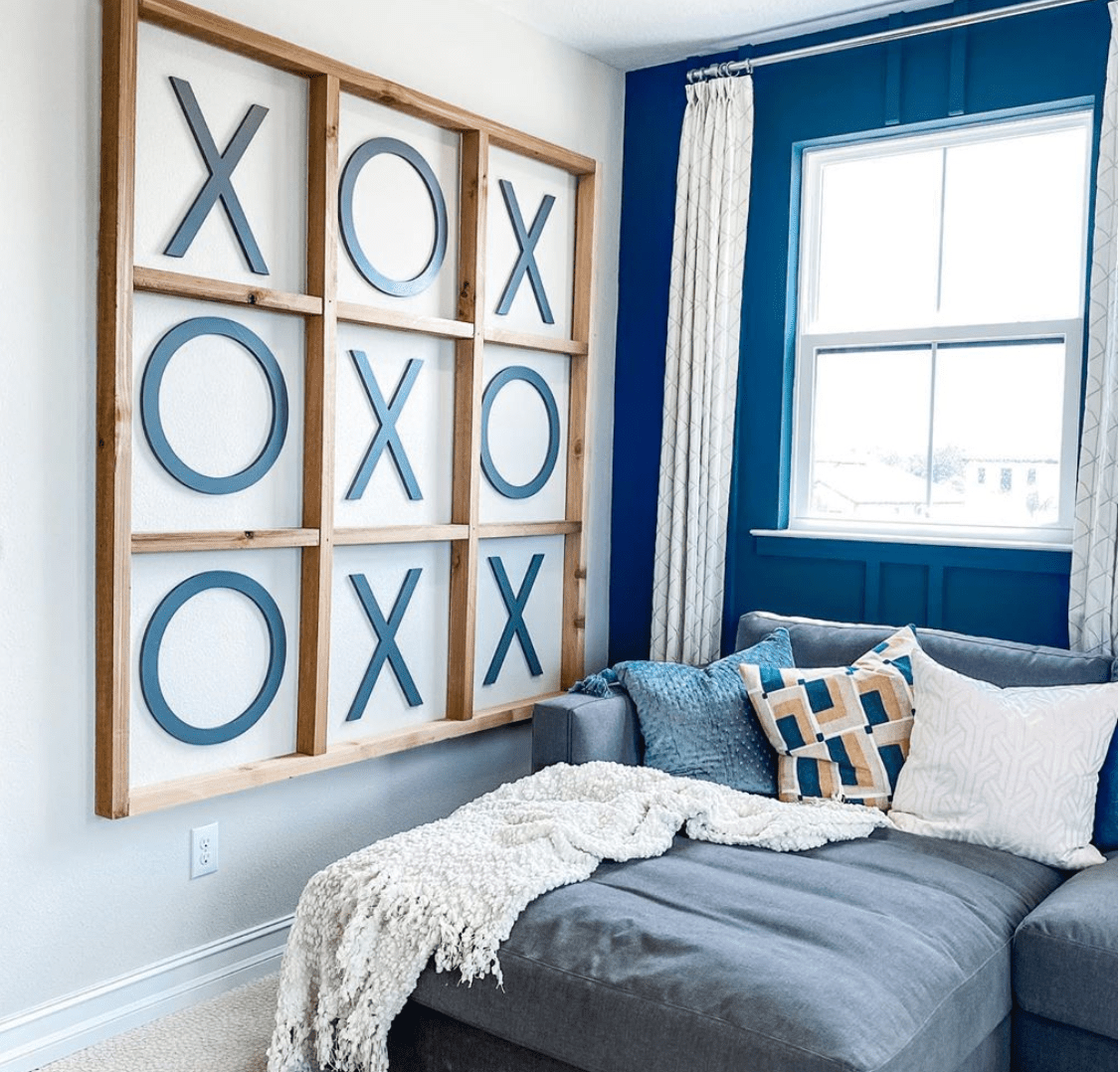 Living room with navy blue wall