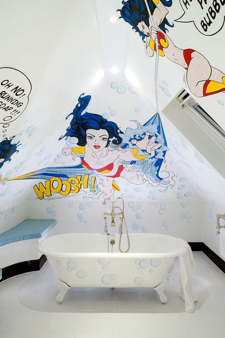 Baño para niños con cómic de bricolaje