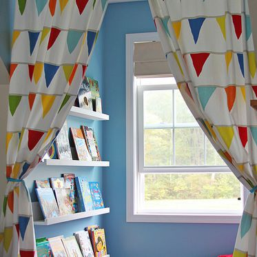 Book nook with colorful curtain