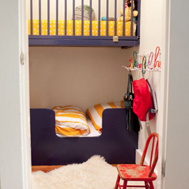 Closet nursery bunk bed with room for two kids