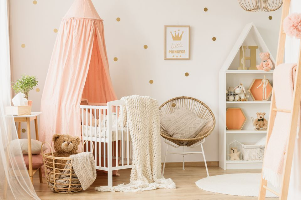 Pink child's bedroom interior