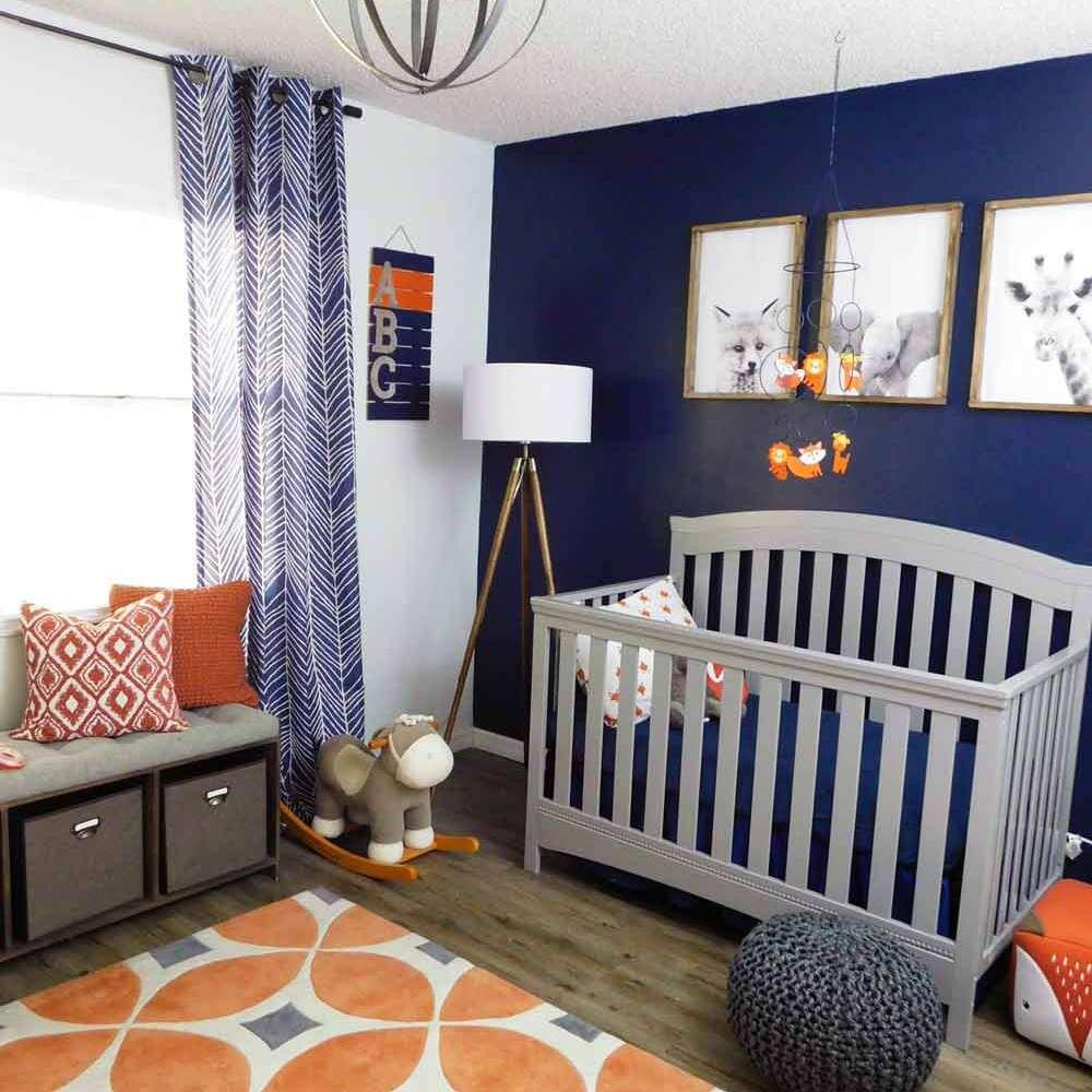 Navy indigo nursery with range accents