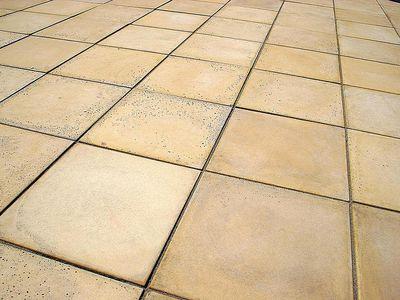 Sandstone-coloured patio paving stones