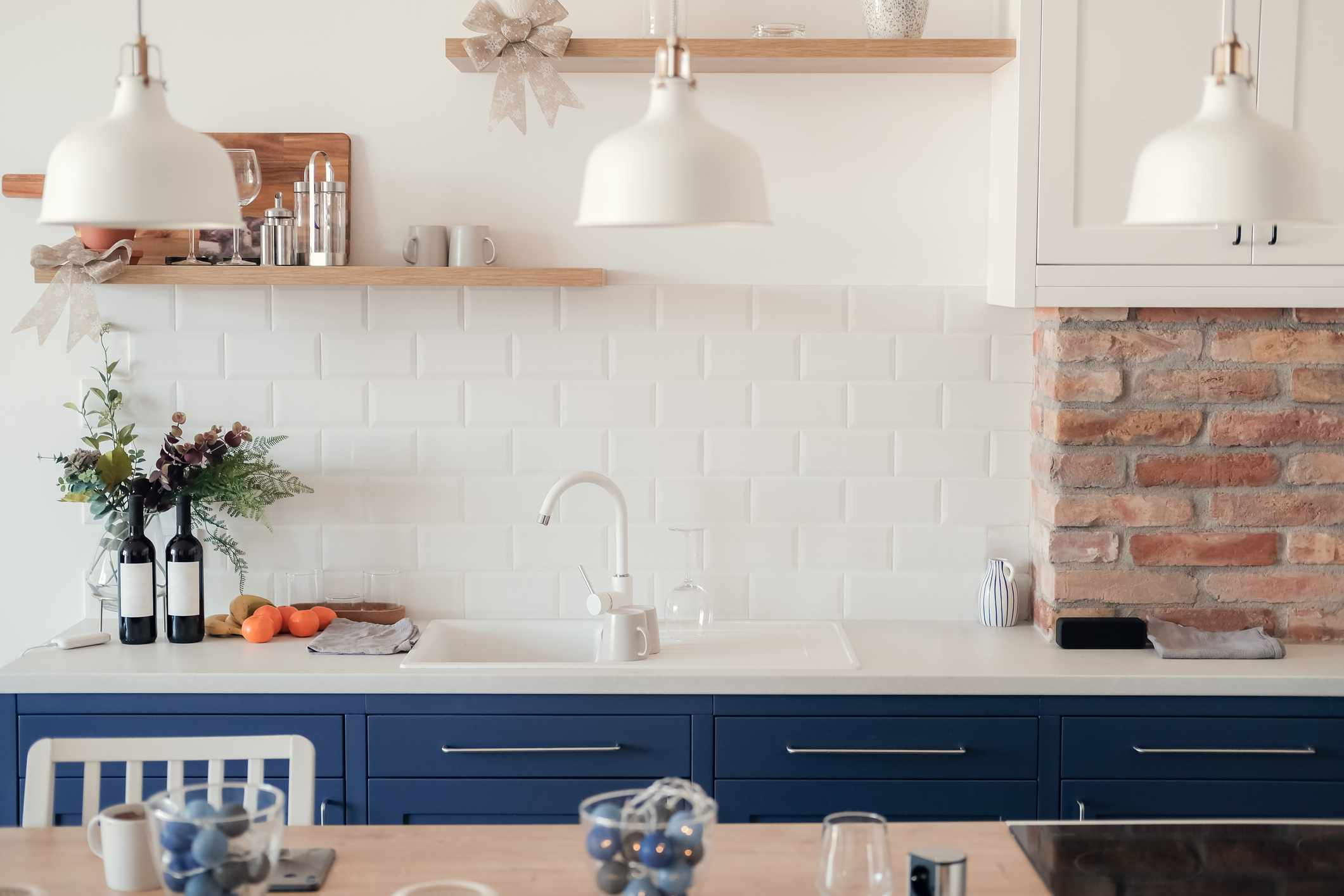 Painted white countertops in a kitchen