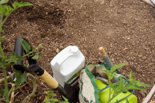 Clear space of garden soil next to materials and tools with amedments