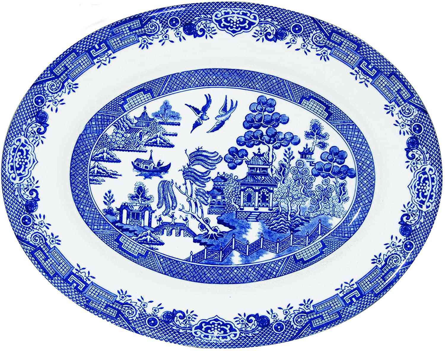 Churchill Blue Willow Fine China Earthenware Oval Dish