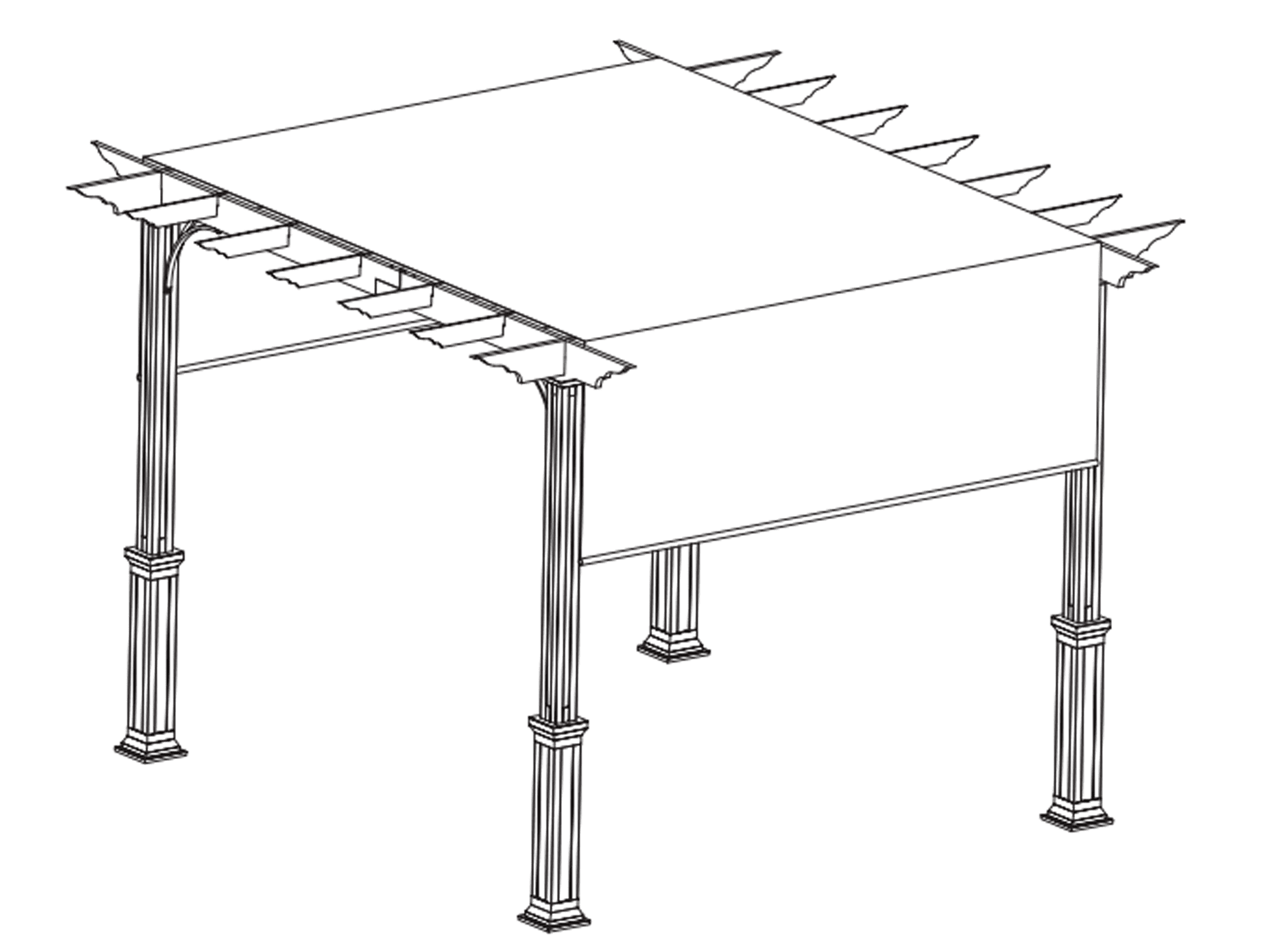 Una ilustración de una pérgola con dosel