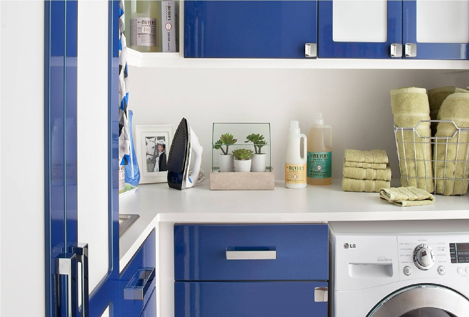 Laundry Room Blue Cabinets