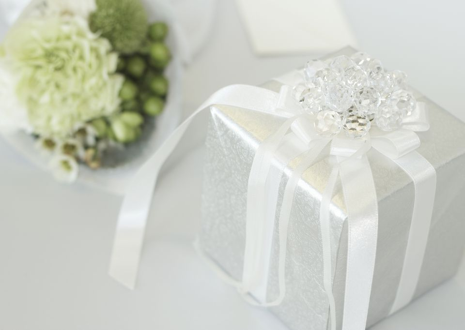 wedding gift and bouquet