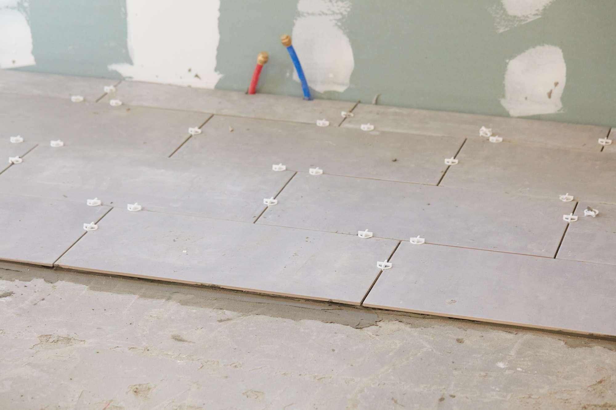Kitchen flooring installed with ceramic tiles