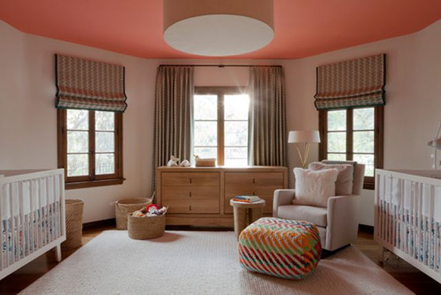 Neutral twin nursery with painted ceiling