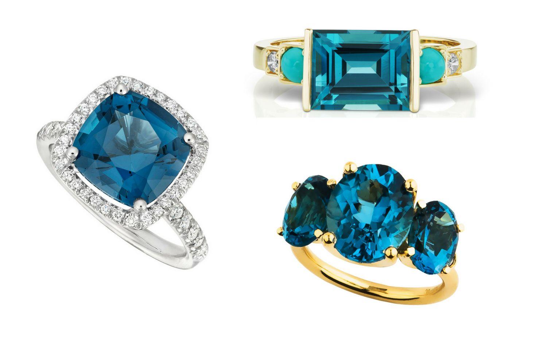 anillos de topacio azul