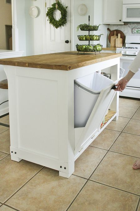 15 free diy kitchen island plans a diy kitchen island with trash storage solutioingenieria Gallery