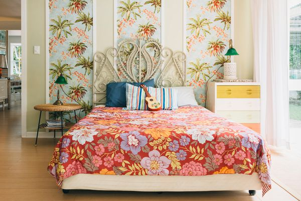 vintage fabric on a bed