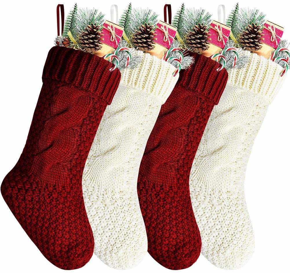Kunyida Unique Burgundy and Ivory White Knit Christmas Stockings