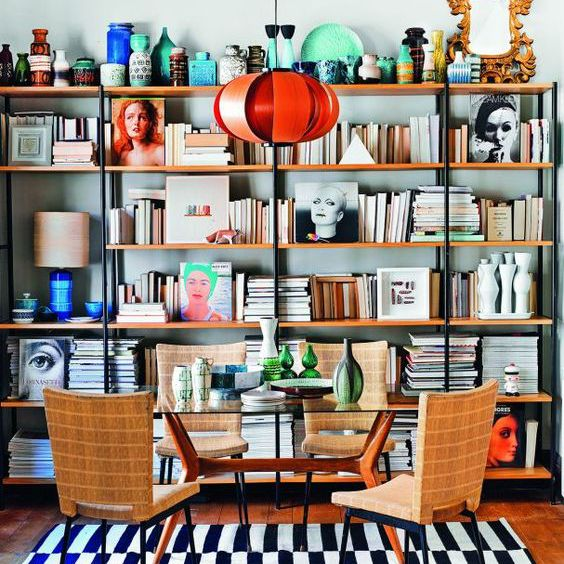 Colorful home library with patterned rug